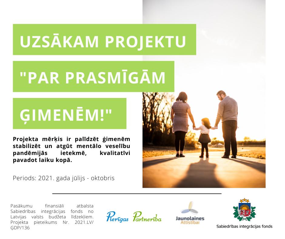 """Biedrības """"Pierīgas partnerība"""" un """"Jaunolaines attīstībai"""" uzsāk projektu par ģimenēm draudzīgas vides veidošanu Mārupes, Babītes un Olaines novados"""